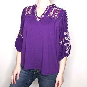 Napa Valley 3/4 Sleeve Flowy Embroidered Top L